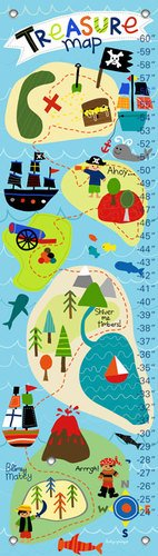 Oopsy Daisy Growth Charts Pirate's Treasure Map Lesley Grainger, Blue, 12 x 42""