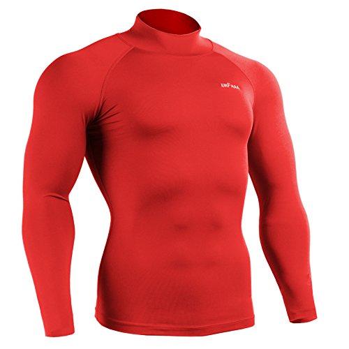 Emfraa Men Women Compression Turtleneck Mock Neck Base Layer Shirt Long Sleeve Red, E-63 Large