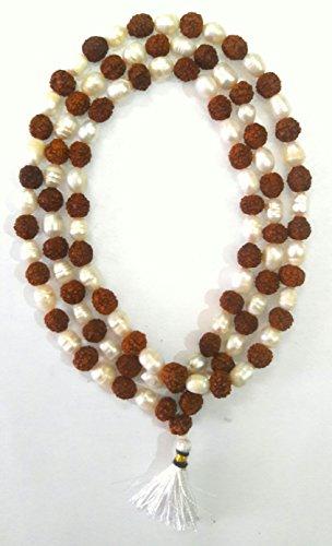 Divya Shakti Natural Rudraksha & Pearl Mala 8mm Beads - 108+1 Beads Japa / Rosary Rudraksh + Moti Mala ( Spiritual... - B01E4D8DR0