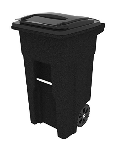 Toter 025532-R1209 Residential Heavy Duty Two Wheeled Trash Can with Attached Lid, 32-Gallon, Blackstone (Large Trash Can With Lid compare prices)