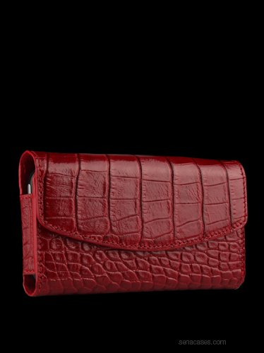 Sena Bumper Wallet Protective Leather Pouch For Iphone 4 And Iphone 4S, Croco Red