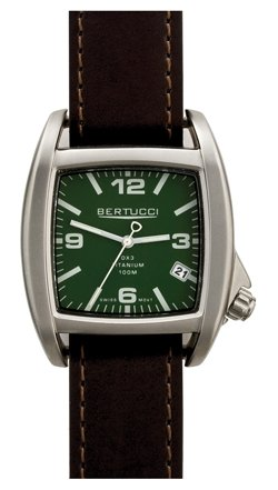 Bertucci C-1T Men's Watch - Titanium - Dark Brown Duration Leather Strap - Hunter Dial - 16008