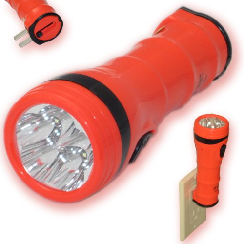 Rechargeable Flashlight 5 Led Torch Ultra Bright Plug In Wall Charge Camping