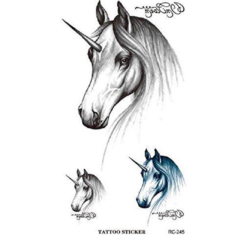 STRASS-ET-PAILLETTES-Mini-Tatouages-phmres-licorne-noir-et-bleu-waterproof-Tatoo-temporaire-Bijou-de-peau-licorne