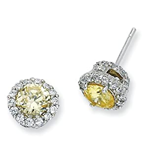 Sterling Silver Canary and White CZ Round Post Earrings