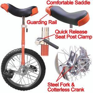 "Unicycle High Quality 16"" Unicycle Bike - (Red)"