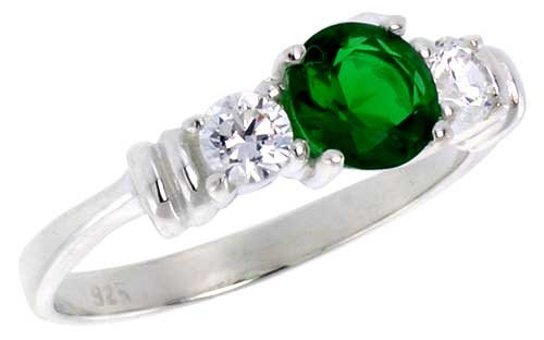 Sterling Silver 1 Carat Size Brilliant Cut Emerald Colored CZ Bridal Ring (Available in Sizes 6 to 10) size 7