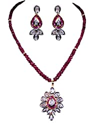 Gehna Pink Tourmaline Studded Pendant With Pink Tourmaline Gemstone Faceted Bead