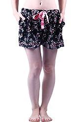 Vixenwrap Black Floral Print Shorts(L_Black)