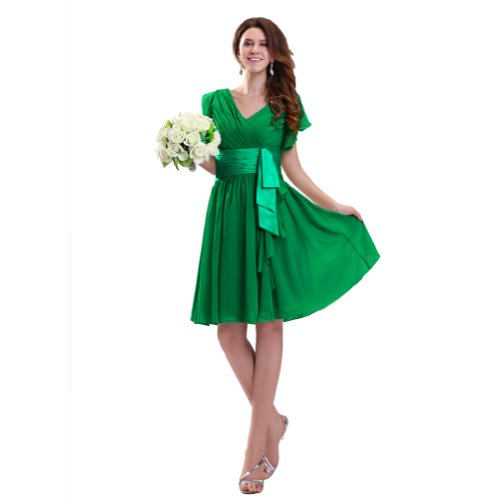 Sunvary 2013 Spring V Neckline Short Sleeves Knee Length Chiffon Cocktail Homecoming Dresses Bridesmaid Dresses- US Size 22W- Blue