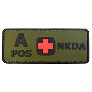 Olive Drab Green OD A POS Groupe Sanguin NKDA Combat Tactical PVC Gomme 3D Velcro Écusson Patch