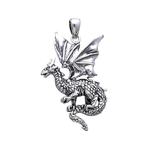 ".925 Sterling Silver Dragons Legends Fairies Viking Norse Medal Pendant Necklace Comes With A Beautiful 20"" Silver Plated Snake Chain"