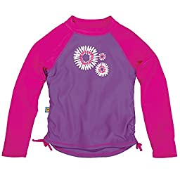 Purple Baby Girl Long Sleeve Rashguards, Sun Smarties, Daisy, 18 Mo.