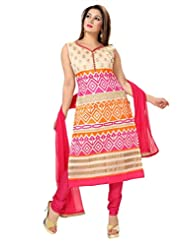 Ritu Creation Women's New Silk Designer Chuddidar Suit With Multi Stitch Embroided (Beige)