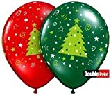 Set of 12 Christmas Trees Stars and Swirls Holiday Balloons 11""