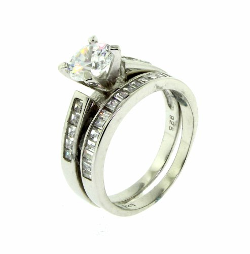 Ladies Created Diamond Ring Set - Sterling Silver - Engagement - UK Size P 1/2