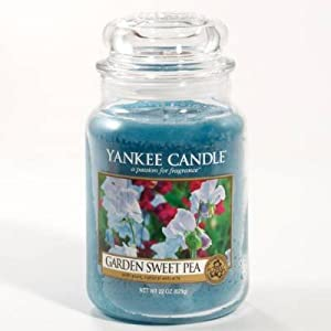 Amazon.com: Yankee Candle 22 oz. Garden Sweet Pea Jar Candle: Home ...