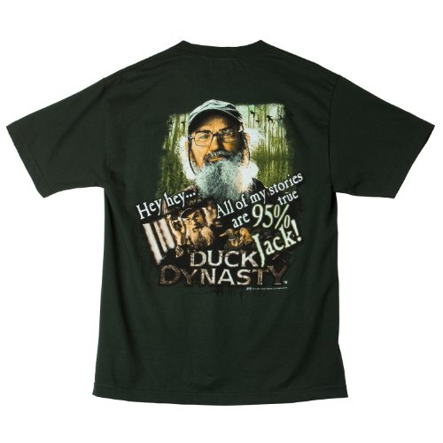 Duck Dynasty Hey Hey All My Stories Are 95% True Jack Adult Hunter Green T-shirt (Adult XX-Large)