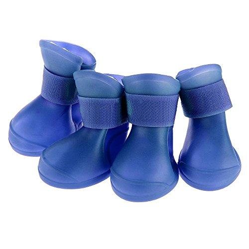 Floveme 4 x Pet Dog Cute Stivaletti Stivali scarpe impermeabile in PVC per protezione impermeabile, taglia L, colore: blu