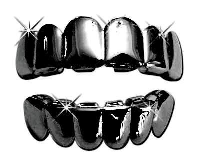 Hip Hop Platinum Black Tone Removeable Mouth Grillz Set (Top & Bottom) Gun Metal (Platinum Mouth Grillz compare prices)