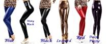 High Waist Leather Skinny Leggings Pants Tights Full Treggings (S, Blacklish Green)