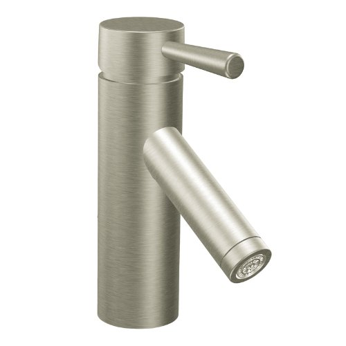 Moen 6100BN Level One-Handle Low Arc Bathroom Faucet, Brushed Nickel