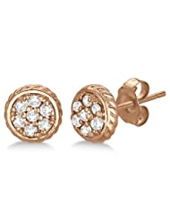 Kiara Women's Silver Pink Gold Plated Traditional Shape Stud Earring #KIE0088