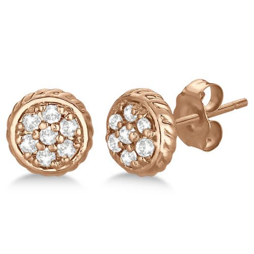 Kiara Women's Silver Pink Gold Plated Traditional Shape Stud Earring #KIE0088 (multicolor)