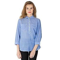 Instict Women's Cotton Shirts (60073BL_XL, Sky Blue, X-Large)