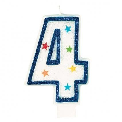 Amscan AMI 179904 Star Glitter Birthday Candle No.4, White/Blue - 1