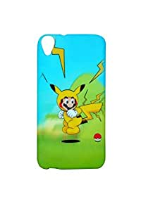 ZOOP Premium High Quality Rubberized Protective Printed Case Cover for HTC D820 -Pikachu (Pokemon)