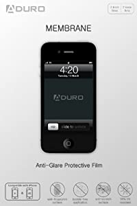 Aduro MEMBRANE Anti-Glare (Matte) Screen Protector for iPhone 4 / 4S, AT&T, Sprint and Verizon (3 Front + 2 Back Films) Retail Packaging