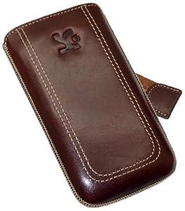 Original Suncase Echt Ledertasche (Lasche mit Rückzugfunktion) für iPhone 4 / iPhone 4S in braun