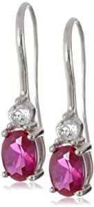 Sterling Silver Created Ruby and White Topaz Oval Wire Earrings