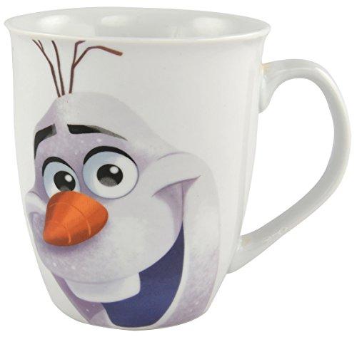 Tazza con personaggio Olaf dal film Frozen della Disney, 350 ml, colore bianco