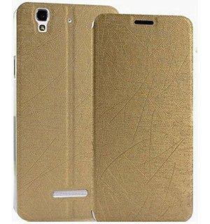 Pudini® Yusi Rain Series Leather Flip Cover Stand Case for Micromax Yu Yureka - Champaign Gold