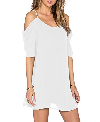 Women's Summer Spaghetti Strap Sundress Trumpet Sleeve Beach Slip Dress White Small