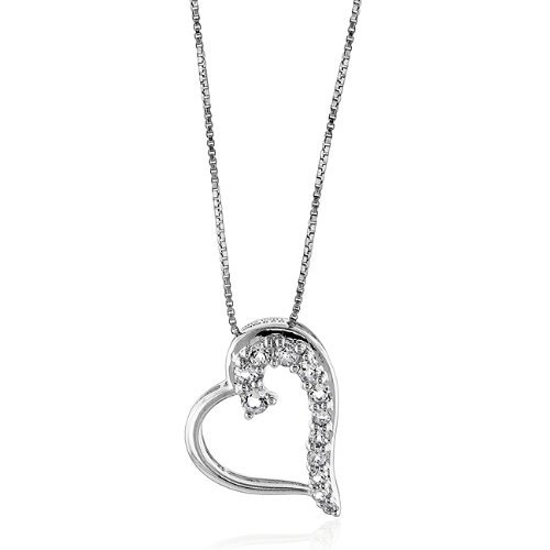 Sterling Silver & Created White Sapphires Journey Heart-Shaped Pendant w/18