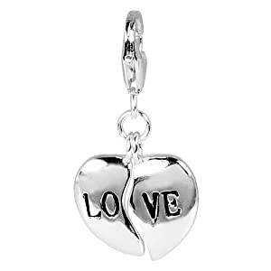 SilberDream Charm heart LOVE, 925 Sterling Silver Charms Pendant with Lobster Clasp for Charms Bracelet, Necklace or Charms Carrier FC3008