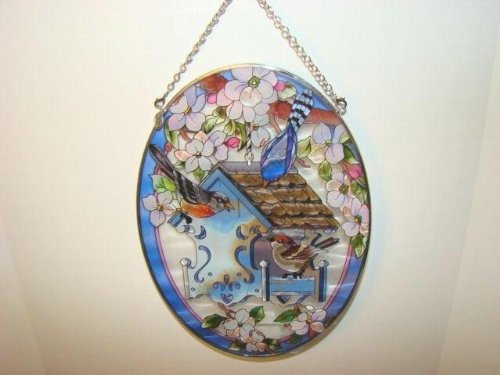 Amia Oval Suncatcher with Songbird and Birdhouse Design, Hand Painted Glass, 6-1/2-Inch by 9-Inch