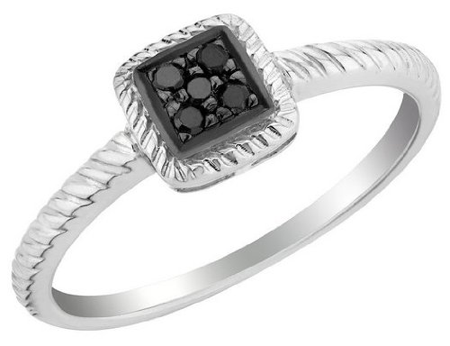 Black Diamond Promise Ring in Sterling Silver, Size 6