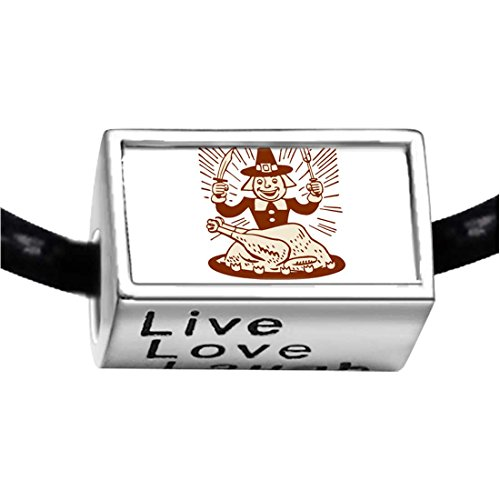 Silver Plated Thanksgiving Turkey Man With Fork Knife Photo Live Love Laugh Charm Beads Bracelets