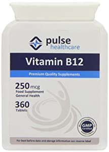 Pulse Healthcare 250mcg Vitamin B12 Premium Quality GMP Supplement - Pack of 360 Tablets