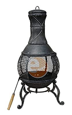Estore 89cm Large Heavy Duty Open Bowl Mesh Cast Iron Steel Chimenea Chiminea Log Burner Fire Log Pit Patio Heater Garden Bbq Firepit 89 Cm Chimney Outdoor Black Bronze from ESTORE