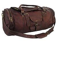 "Genuine Leather Bag Shop 24""x12x12 Mens Vtg Style Flap End Compartment Duffel"