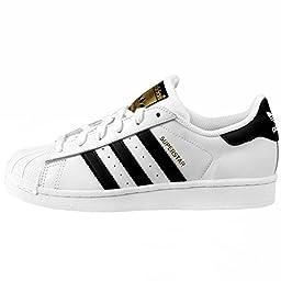 adidas Originals Superstar J Casual Low-Cut Basketball Sneaker (Big Kid),White/Black/White,5 M US Big Kid