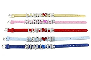 Lot Of 5 One Direction Crystal Slider Letter Wristband Bracelet Wgift Box by Fun Daisy Jewelry