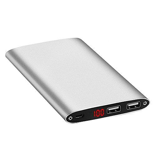 GRDE 10000mAh大容量モバイルバッテリー 薄型 急速充電可能 LEDスクリーン付き スマホ 充電器iPhone / iPad / iPod / Xperia / Galaxy / Nexus等 (シルバー)