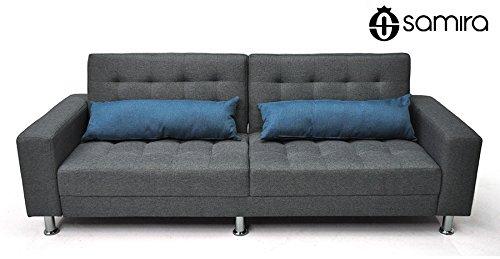 Divano letto in tessuto grigio - divanetto 3 posti mod. Giulia completamente rivestito in tessu