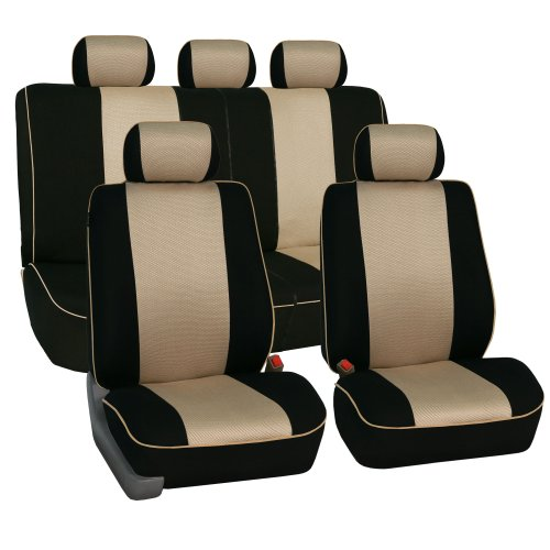 Fh-Fb063115 Cloth Car Seat Covers With Piping Full Set Airbag & Split Ready Beige front-207933
